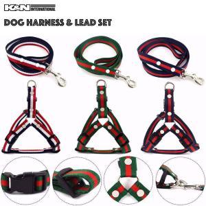 犬 ペット 小型犬 お洒落 かわいい ライン ハーネス リード セット 簡単装着 8の字 ハーネス ...