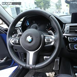 シルバー BMW 3シリーズ F30 F31 セダン ツーリング Mスポーツ用 ステアリング スイッチ回り パネル 左右ハンドル用 内装 インテリア USDM k-n-int 07
