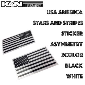 USA アメリカ 国旗 星条旗 黒 白 2色 ステッカー シール  左右非対称 車 室内 工具箱 パソコン USDM アメ車 FJクルーザー タンドラ タコマ|k-n-int