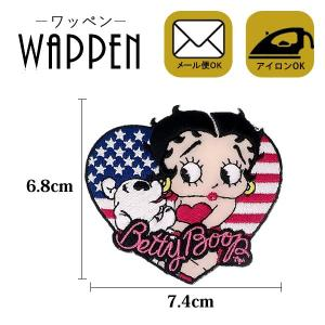 ベティー ブープ キャラクター ワッペン 刺繍 アイロン 縦6.8cm×横7.4cm Betty Boop ステッカー シール 正規品 メール便可 k-oneshop