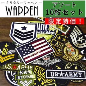 ワッペン ミリタリー アソート10枚セット アップリケ 刺繍ワッペン エンブレム 国旗 星 メール便|k-oneshop