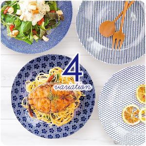 青みがかった白が美しい白磁に、全面に描かれた模様が映える深皿。 日本の伝統色である藍色で描かれた模様...