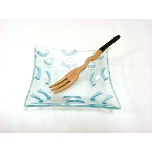 型吹きガラススクエア小鉢 正方形10.5cm クリアブルーホワイト ハンドメイド 手作り ガラス食器 小皿 k-s-kitchen
