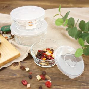 耐熱ガラスパック 3点セット アウトレット込 電子レンジOK オーブン不可 蓋付 保存容器 ボウル 作り置き ノンラップ 常備菜 おしゃれ シンプル 北欧 まとめ買い k-s-kitchen