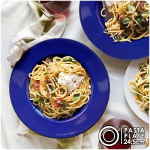 インディゴブルーのリム付きパスタ皿 24.5cm アウトレット込 日本製 美濃焼 陶器 洋食器 青 大皿 深皿 ディナープレート パスタプレート カフェ風 北欧風 モダン k-s-kitchen