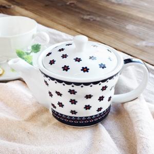 北欧風 茶こし付き ティーポット 490cc アウトレット込 1~3人用 茶漉し付き 網付き 食器 陶器 洋食器 急須 ポット 白 紅茶 花柄 おしゃれ おうちカフェ かわいい k-s-kitchen