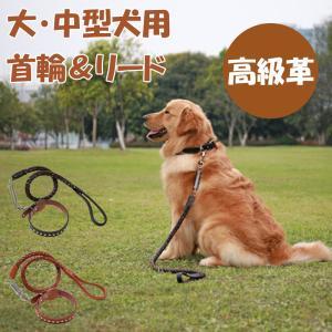 犬用品 首輪 大型犬 中型犬 リード 犬用 セット 革 おしゃれ レザー 持ちやすい ワンちゃん 散歩 お出かけ 頑丈 丈夫|SMART LIFE PayPayモール店