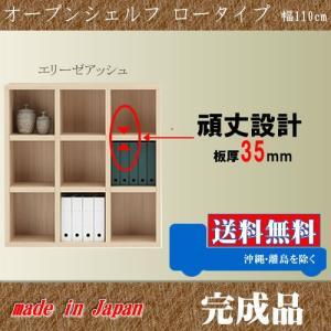 本棚 008 ロータイプ 110cm幅 エリーゼアッシュ色 オープンシェルフ 完成品 日本製 フリーラック 収納家具 本収納 本棚 書棚 究極のシンプルデザイン|k-style