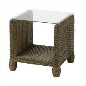 サイドテーブル アジアンテイスト ラタン ガラス天板 ソファサイド ベッドサイド|k-style