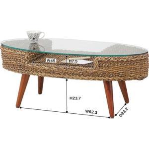 ガラスオーバルテーブル ローテーブル リビングテーブル 楕円形 送料無料 アジアンテイスト 籐  k-yorozuya 02