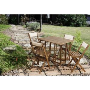 ダイニング5点セット 折りたたみ木製チェア バタフライテーブル オイル仕上げ アウトドア ガーデン|k-yorozuya