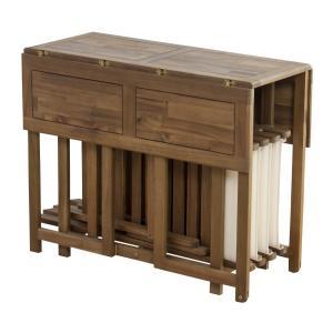 ダイニング5点セット 折りたたみ木製チェア バタフライテーブル オイル仕上げ アウトドア ガーデン|k-yorozuya|03