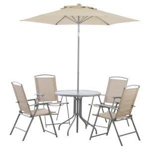 ダイニング6点セット 折りたたみチェア ガラス丸テーブル アウトドア ガーデン 送料無料 SET テーブルセット 椅子セット チェアセット パラソル付き|k-yorozuya