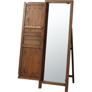 スタンドミラー 鏡 ウォールミラー 姿見 木製フレーム 杉 天然木 ドア 扉 ドアミラー k-yorozuya