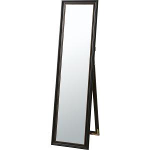 スタンドミラー 鏡 ウォールミラー 姿見 フレーム 杉 天然木 ドア ブラック ゴールド 送料無料 k-yorozuya