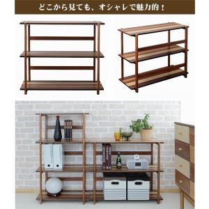木製ラック 3段 オープンラック 天然木 棚 幅85 シェルフ 北欧 収納 k-yorozuya 06