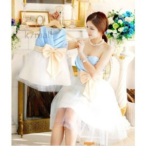 人気韓国風親子ウェディングドレスレディース女の子ブライズメイド服パーティードレスベールガールフォーマ...