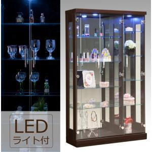 LEDダウンライト付き 幅90cm×高さ150cm コレクションボード  LEDライト付き ディスプレイラック 木目調 ブラウン|kaagu-com