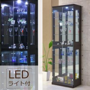 コレクションボード  LEDダウンライト付き 幅65cm×高さ200cm LEDライト付き ディスプレイラック キュリオケース 飾り棚 木目調 ブラウン|kaagu-com