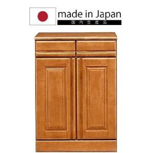 国産《60カウンター》天然木天板無垢材可動棚キッチンカウンターレンジ台レンジボード食器棚キッチンボードブラウン|kaagu-com