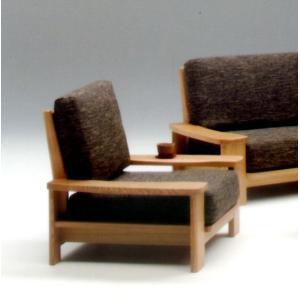 高級布張り 幅94cm 天然木製フレーム高級タモ材使用 和風モダン 1人掛けソファー 1Pソファー シングルソファー ナチュラルブラウン|kaagu-com