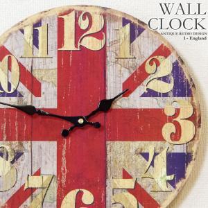 幅34cm壁掛け時計 イギリス国旗柄 レトロ調アンティークデザイン ウォールクロック レトロクロック インテリア時計 木目調ユニオンジャック柄|kaagu-com