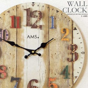 34cm壁掛け時計 ナチュラルウッド レトロ調アンティークデザイン ウォールクロック ラウンドクロック 木目調ナチュラル×文字入りカラフル数字|kaagu-com