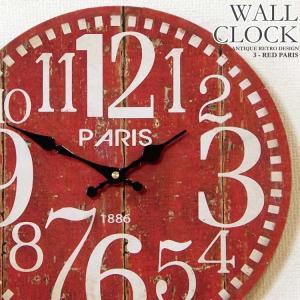 幅34cm 壁掛け時計 アンティークレッド レトロ調 アンティークデザイン ウォールクロック レトロクロック 木目調PARIS|kaagu-com