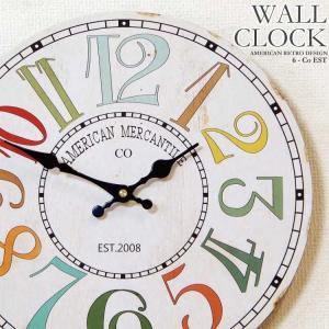 幅34cm壁掛け時計 カラフル数字 レトロ調アンティークデザイン ウォールクロック レトロクロック 木目調ホワイト系×レトロデザインフォント数字EST|kaagu-com