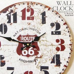 幅34cm壁掛け時計 ワールドマップ-ルート66 レトロ調アンティークデザイン ウォールクロック レトロクロック 木目調×世界地図 ROUTE66|kaagu-com