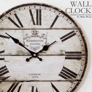 幅34cm 壁掛け時計 木目調ホワイト レトロ調 アンティークデザイン ウォールクロック レトロクロック ローマ数字×ロンドンLONDON|kaagu-com