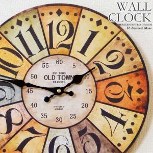 幅34cm 壁掛け時計 ステンドグラス風 レトロ調アンティークデザイン ウォールクロック レトロクロック カラフルステンドガラス風|kaagu-com