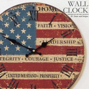 幅34cm 壁掛け時計 星条旗 レトロ調アンティークデザイン ウォールクロック ローマ数字 アメリカ国旗 アメリカンレトロ|kaagu-com