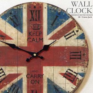 幅34cm壁掛け時計 ユニオンジャック レトロ調アンティークデザイン ウォールクロック 木目調 ローマ数字 イギリス国旗 英国旗|kaagu-com
