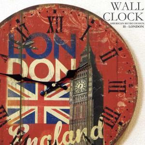 幅34cm壁掛け時計 ロンドン塔 レトロ調アンティークデザイン ウォールクロック 木目調 ローマ数字イギリス国旗 英国旗 ビッグ・ベン レッド赤|kaagu-com