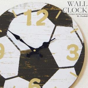 幅34cm壁掛け時計 サッカーボール レトロ調アンティークデザイン ウォールクロック 木目調 スポーツ|kaagu-com