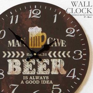 34cm壁掛け時計 ビール レトロ調アンティークデザイン ウォールクロック ビールパッケージ風 kaagu-com