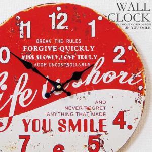 幅34cm壁掛け時計 YOU SMILE レトロ調アンティークデザイン ウォールクロック 丸型 レッド ホワイト 缶風 瓶蓋風 kaagu-com