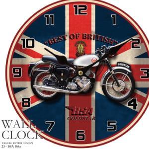 幅34cm壁掛け時計《ユニオンジャック バイク》レトロ調アンティークデザイン ウォールクロック レトロクロック  壁掛時計 インテリア時計 BSA ブリティッシュ|kaagu-com