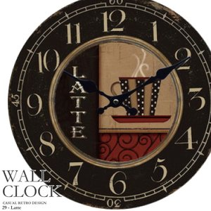 幅34cm 壁掛け時計《カフェラテ》レトロ調アンティークデザイン ウォールクロック レトロ 丸型時計 壁掛時計 カジュアル カフェ風 昭和レトロ コーヒーカップ  kaagu-com