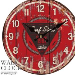 幅34cm 壁掛け時計《1982 ヴィンテージ》レトロ調アンティークデザイン ウォールクロック レトロクロック 丸型 インテリア時計 レッド 木目調 看板風 kaagu-com
