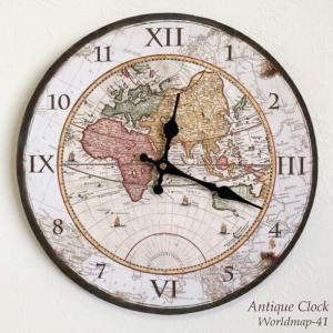 壁掛け時計 ワールドマップ 幅34cm アメリカン レトロ調 アンティークデザイン ウォールクロック レトロクロック インテリア時計 世界地図 レトロ プリント kaagu-com