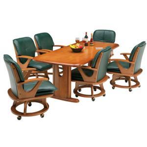 【送料無料】ダイニング7点セットダイニングテーブル+チェアー×6脚食卓7点セット食卓テーブルセット食卓セット6人用グリーン|kaagu-com