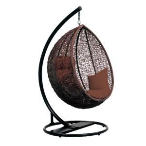 ハンギングチェアー吊り下げ式揺りかごチェアアジアン南国リゾート風エッグ型パーソナルチェアー繭型ハンモックチェアーブラウン|kaagu-com
