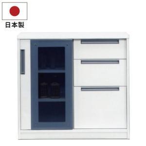 サイドボード 幅90cm 日本製 完成品 フルオープンスライドレール仕様 エナメル塗装 8mm強化ガラス リビングボード ホワイト|kaagu-com