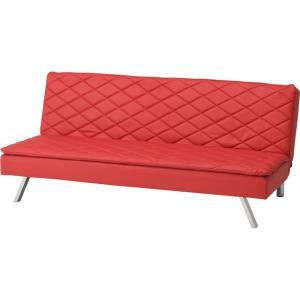 リクライニング ソファーベッド 幅180cm オシャレなダイヤ型ステッチ スチール製 斜め脚 背もたれ3段階調節ギア仕様 レッド|kaagu-com