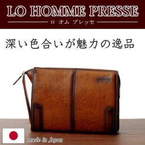 LO HOMME PRESSE アルカイックシリーズ 牛革 セカンドバッグ クラッチ 71851 日本製  メンズ レザー kaban-kimura