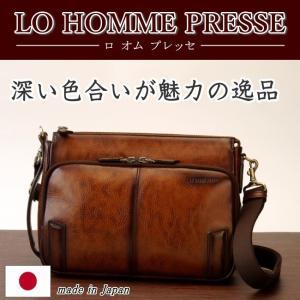 LO HOMME PRESSE アルカイックシリーズ 牛革 2WAYショルダーバッグ 71881 日本製  メンズ レザー  セカンド クラッチ kaban-kimura