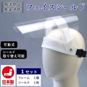 可動式 フェイスシールド 日本製 1セット 飛沫防止 感染予防 FS-ha2 フェイスガード めがねOK 透明シールド 花粉 粉塵 予防|kaban-kimura