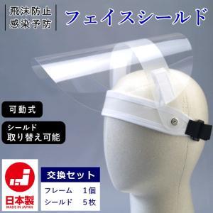 可動式 フェイスシールド 日本製 交換セット 飛沫防止 感染予防 FS-ha2-15 フェイスガード めがねOK 透明シールド 花粉 粉塵 予防|kaban-kimura
